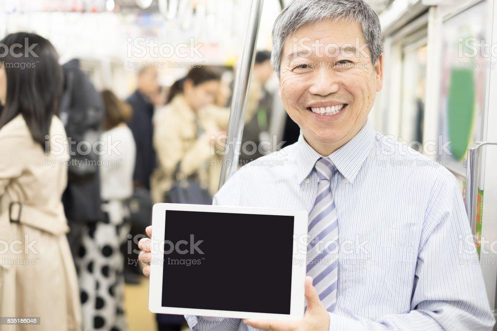 businessman use tablet stock photo