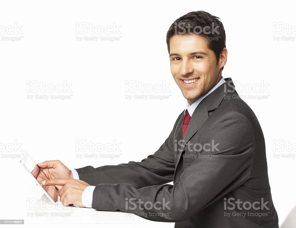 Businessman Using a Digital Tablet - Isolated royalty-free stock photo