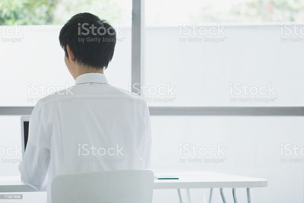 Businessman using a laptop computer royalty-free stock photo