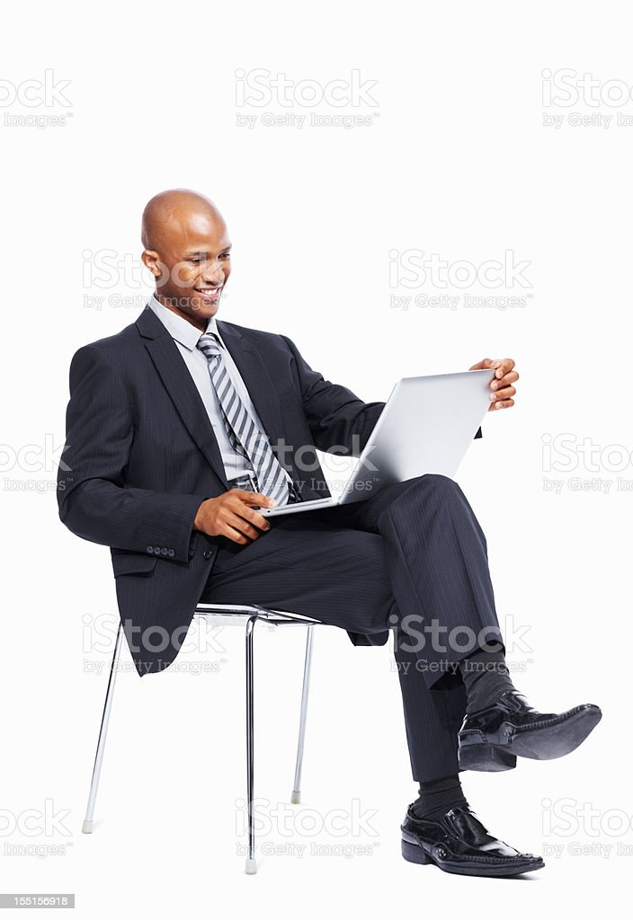 Businessman using a laptop on white background royalty-free stock photo