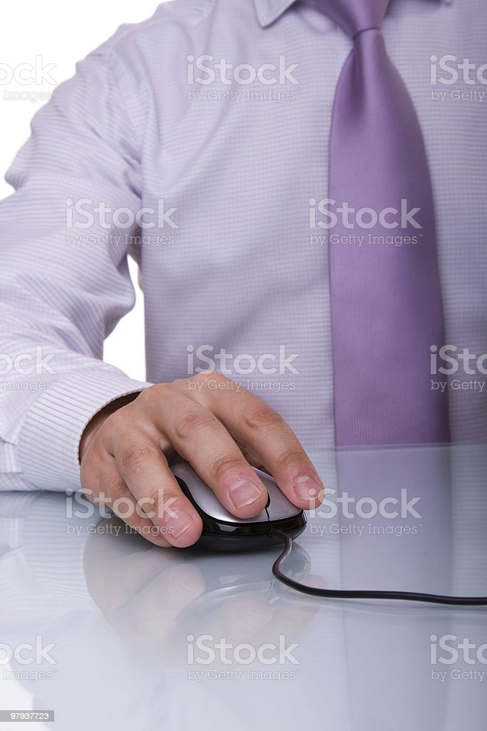 businessman using a mouse royalty-free stock photo