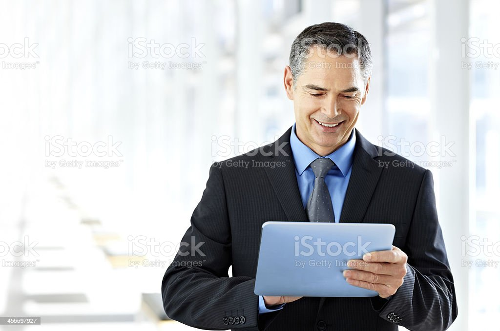 Businessman Using a Tablet Computer royalty-free stock photo