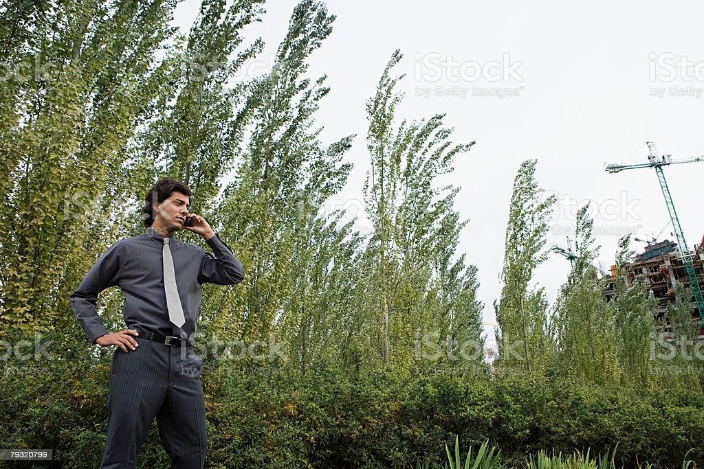 Businessman using cellular telephone near trees 免版稅 stock photo