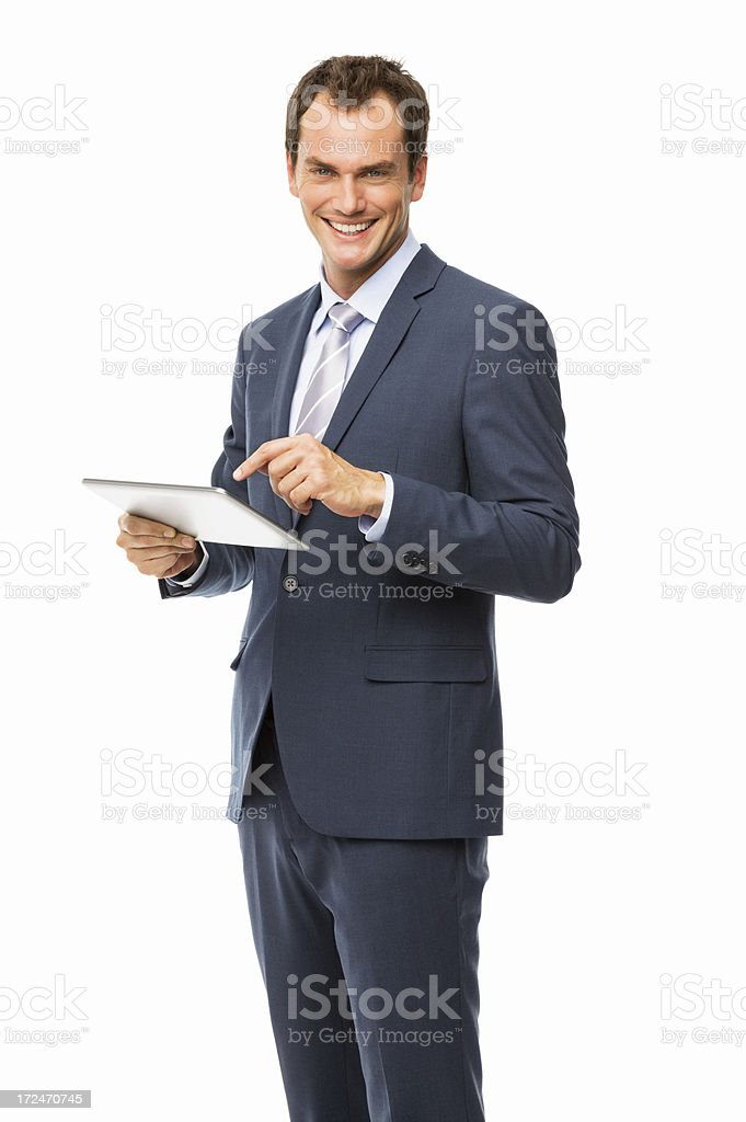 Businessman Using Digital Tablet - Isolated royalty-free stock photo