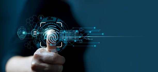 Businessman using fingerprint indentification to access personal financial data. Idea for E-kyc (electronic know your customer), biometrics security, innovation technology against digital cyber crime stock photo