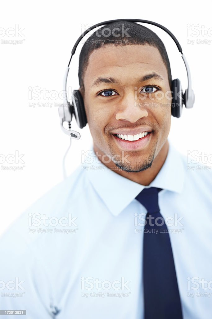 Businessman using headphones and smiling royalty-free stock photo