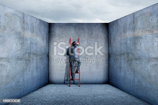 A businessman uses a red ladder to escape from his mundane world.  He is surrounded by the gray, drab, walls that surround him that represent the fact that he feels his creative spirits are being confined.