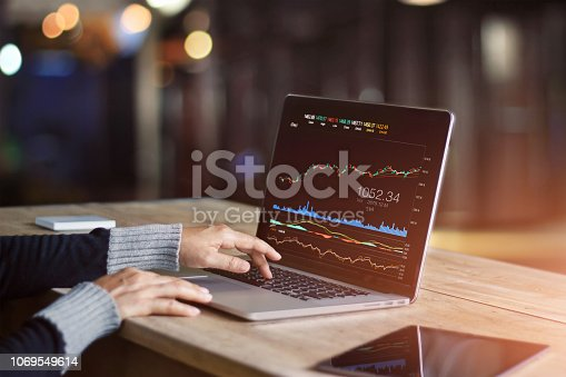istock Businessman using laptop for analyzing data stock market, forex trading graph, stock exchange trading online, financial investment concept. All on laptop screen are design up. 1069549614