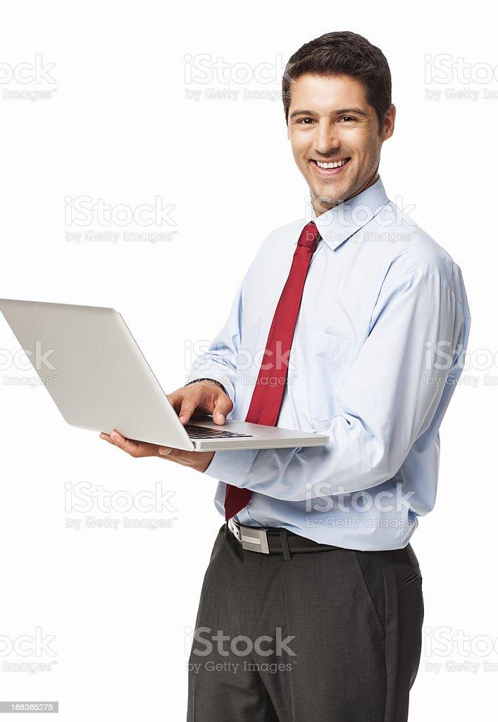 Businessman Using Laptop - Isolated royalty-free stock photo