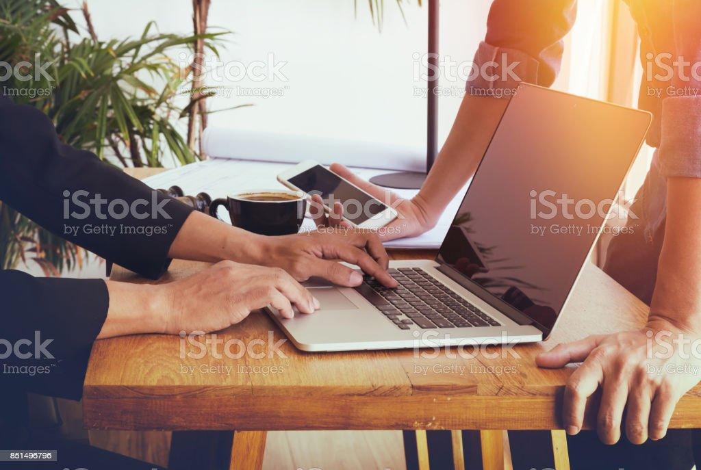 Businessman using laptop. stock photo