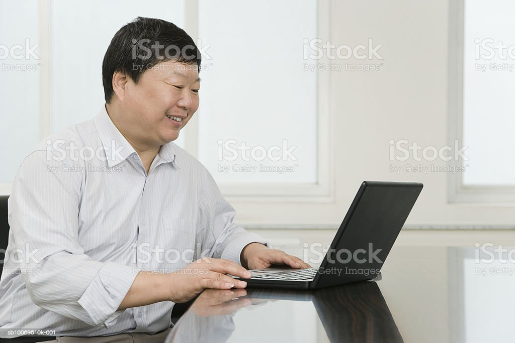 Businessman using laptop, smiling, side view royalty-free stock photo