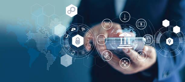 商家使用移動網上銀行和支付, 數位行銷。金融和銀行網路。網上購物和圖示客戶網路連接在虛擬螢幕上, 網路安全。業務技術理念 - 銀行業 個照片及圖片檔