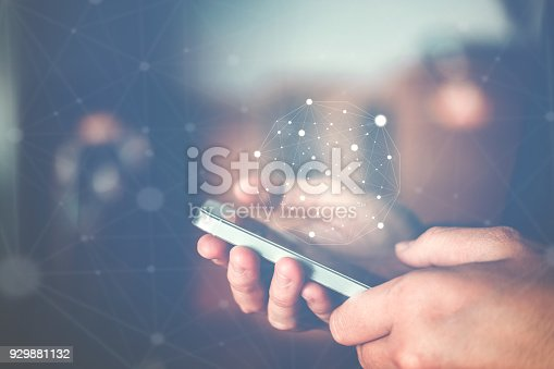 istock Businessman using mobile online icon social networking connection on screen 929881132