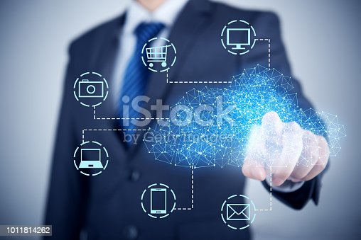 istock Businessman using mobile phone and information communication technology concept 1011814262