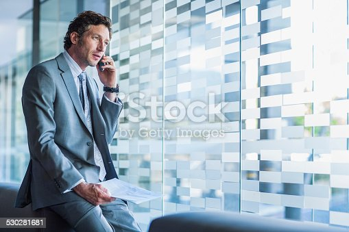 530281733istockphoto Businessman using mobile phone in office 530281681