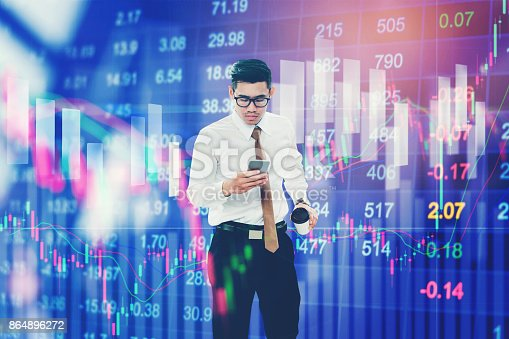 1090482098istockphoto Businessman Using Mobile Phone on digital stock market financial exchange information and Trading graph background 864896272