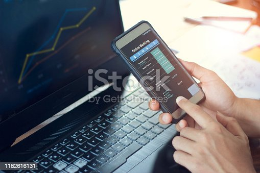 istock Businessman using mobile smartphone with data information banking network connection on screen, mobile banking and online payment. 1182616131