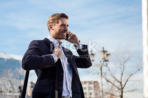 Businessman using modern technology