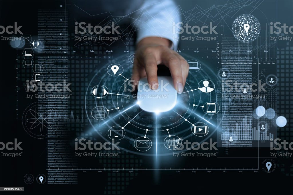 Businessman using mouse payments online shopping and icon customer network connection on global information background, m-banking and omni channel, multichannel stock photo