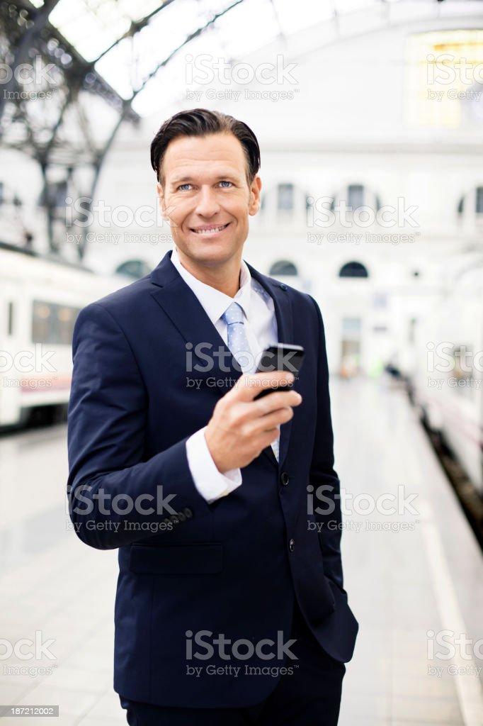 Businessman using on cellphone royalty-free stock photo