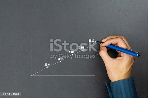 Businessman using pen drawing line year growing graph.Describe the organization's management plan or Company and development guidelines. Depicts business growth up continuity plan until 2020.