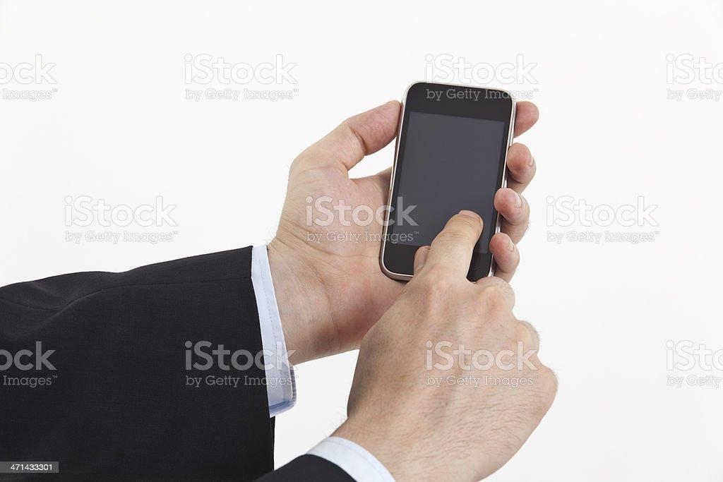 businessman using smart phone isolated on white royalty-free stock photo