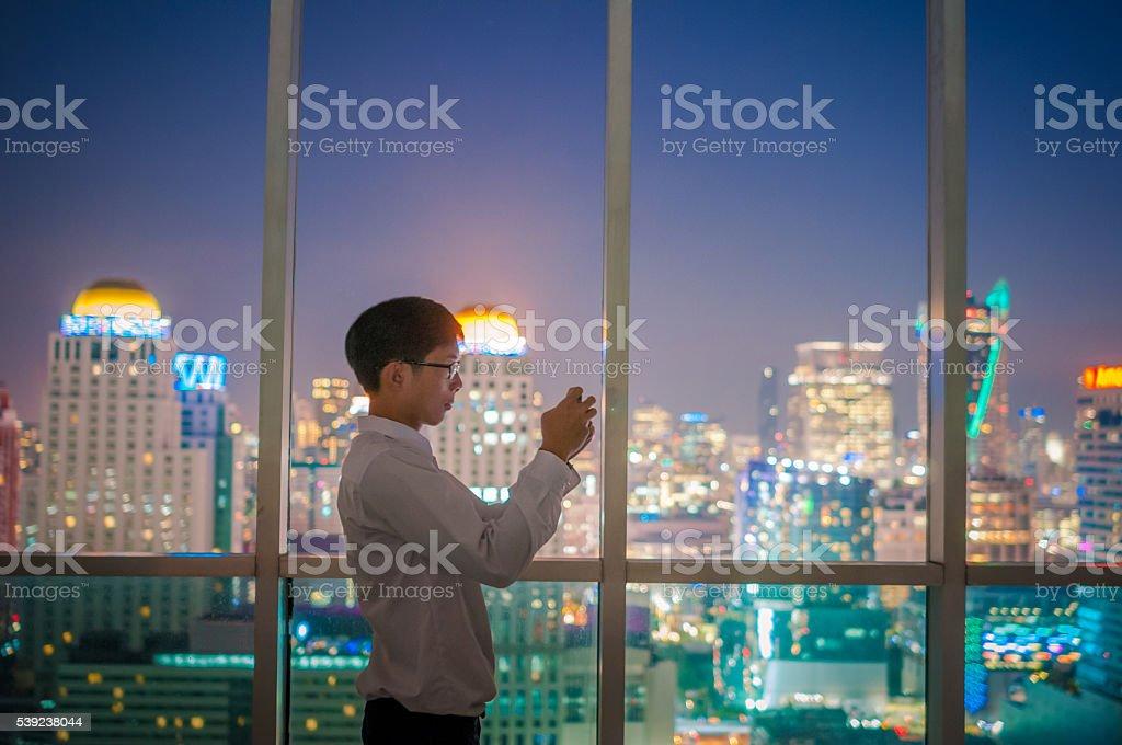 Businessman using smart phone royalty-free stock photo