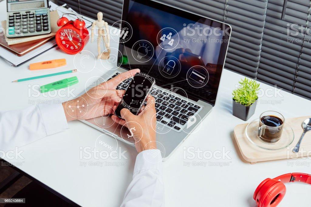 Businessman using smart phone zbiór zdjęć royalty-free