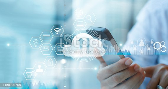 istock Businessman using smartphone and connecting cloud computing service with icon customer network connection. Cloud device online storage. Cloud technology internet networking concept. 1150196768