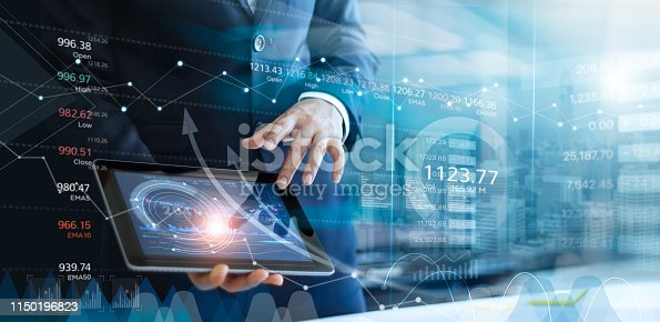 865596974istockphoto Businessman using tablet analyzing sales data and economic growth graph chart. Report. Business strategy. Abstract icon. Stock market. Digital marketing. 1150196823