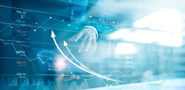 1025744818 istock photo Businessman using tablet analyzing sales data and economic growth graph chart. Business strategy. Abstract icon. Stock market. Digital marketing. 1150203836