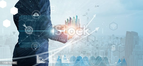 1025744818 istock photo Businessman using tablet analyzing sales data and economic growth graph chart. Business strategy. Abstract icon. Digital marketing. 1206797960