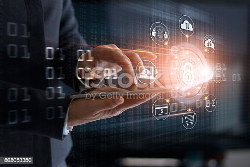 istock Businessman using tablet and lock icon with customer network connection and exchange data on virtual  screen, business security and cyber attack concept 868053350