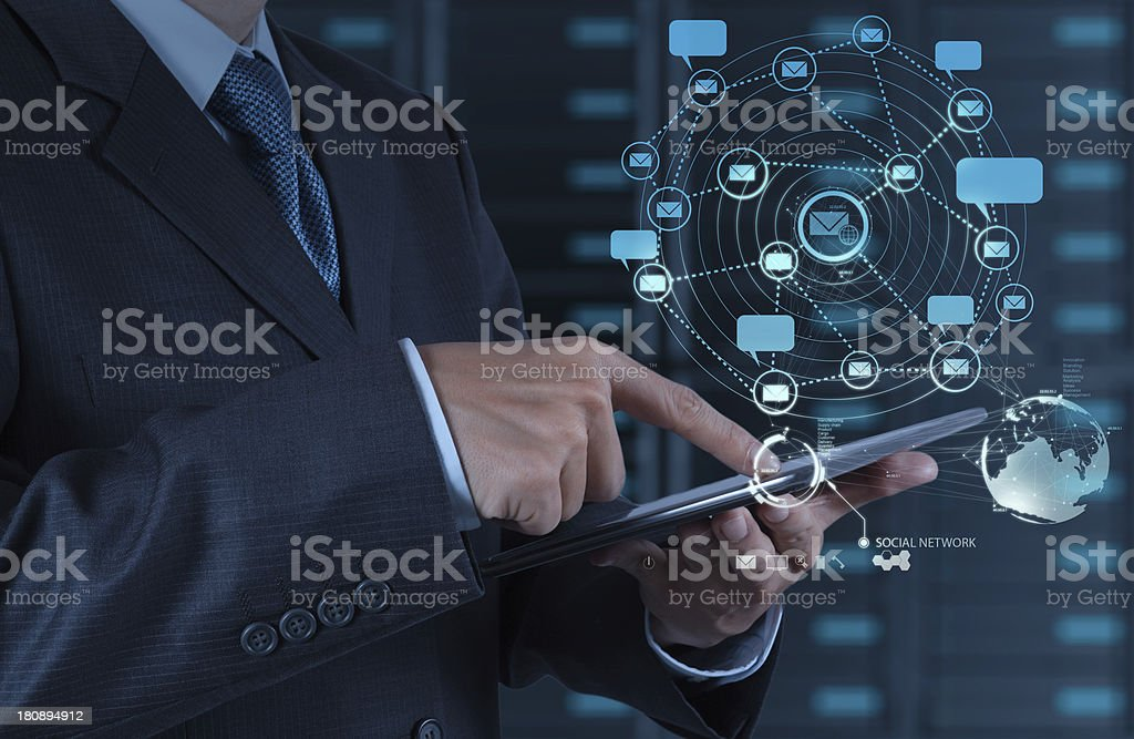 businessman using tablet computer shows internet and social netw royalty-free stock photo