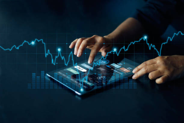 Businessman using tablet online banking, exchange currency and payment, Digital marketing, Finance and banking networking,  Investment of growth on currency rate, Online shopping stock photo