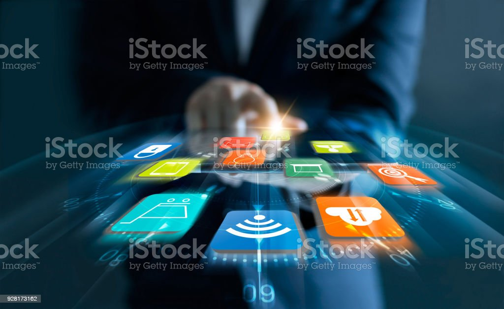 Businessman using tablet payments online shopping with speed icons customer and data network connection on virtual screen. stock photo