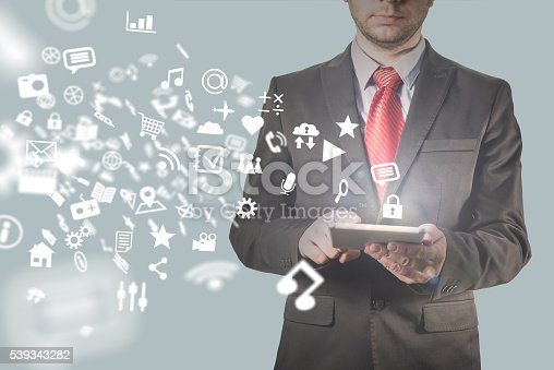 istock Businessman using tablet pc 539343282