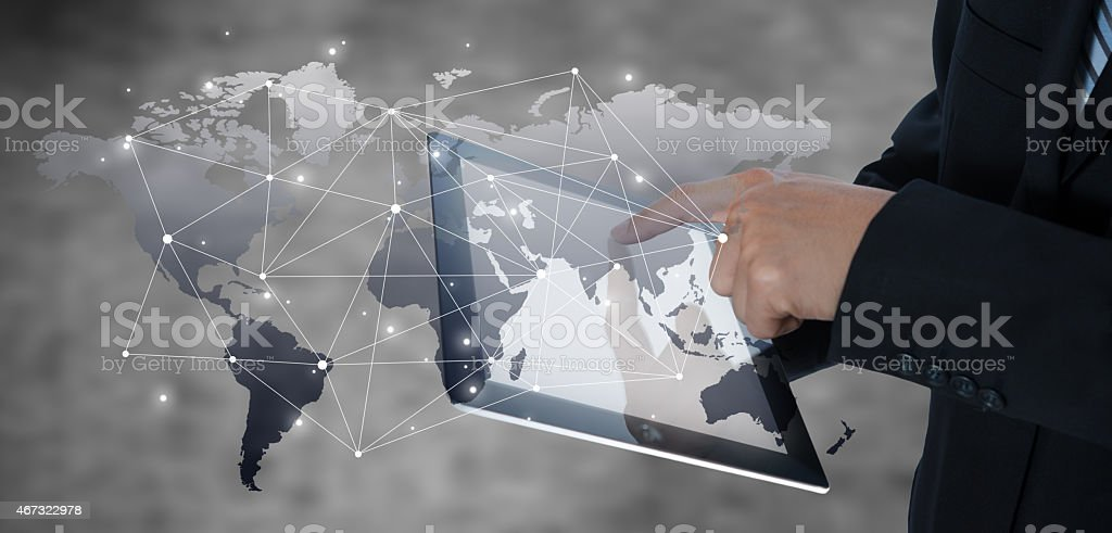 Businessman using tablet with digital visual object, business st stock photo