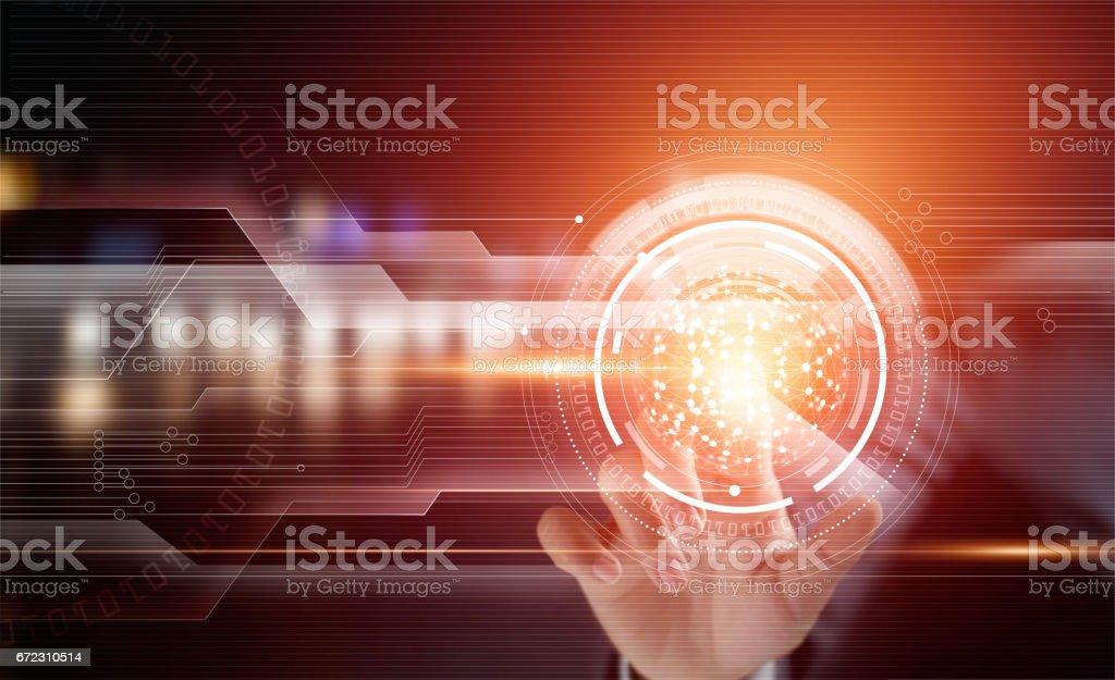 Businessman using touching circle global network on virtual screen stock photo