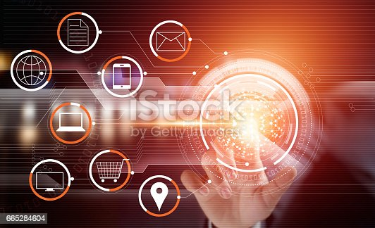 istock Businessman using touching circle global network payments online shopping and icon customer connection on virtual screen, m-banking, multichannel and omni channel 665284604
