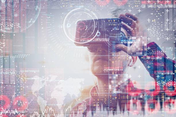 Geschäftsmann nutzt VR – Foto