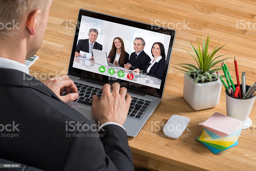 Businessman Video Conferencing On Laptop – Foto