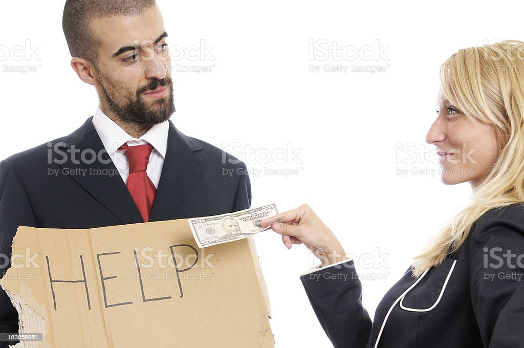 Businessman W Help Message Asking Money royalty-free stock photo