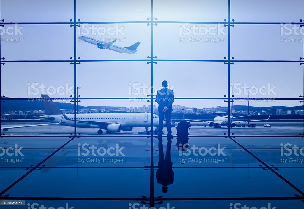 Businessman Waiting Departure stock photo