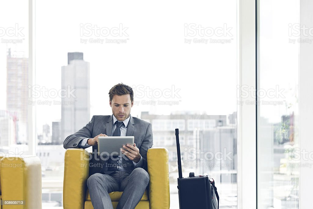 Businessman waiting for a meeting stock photo