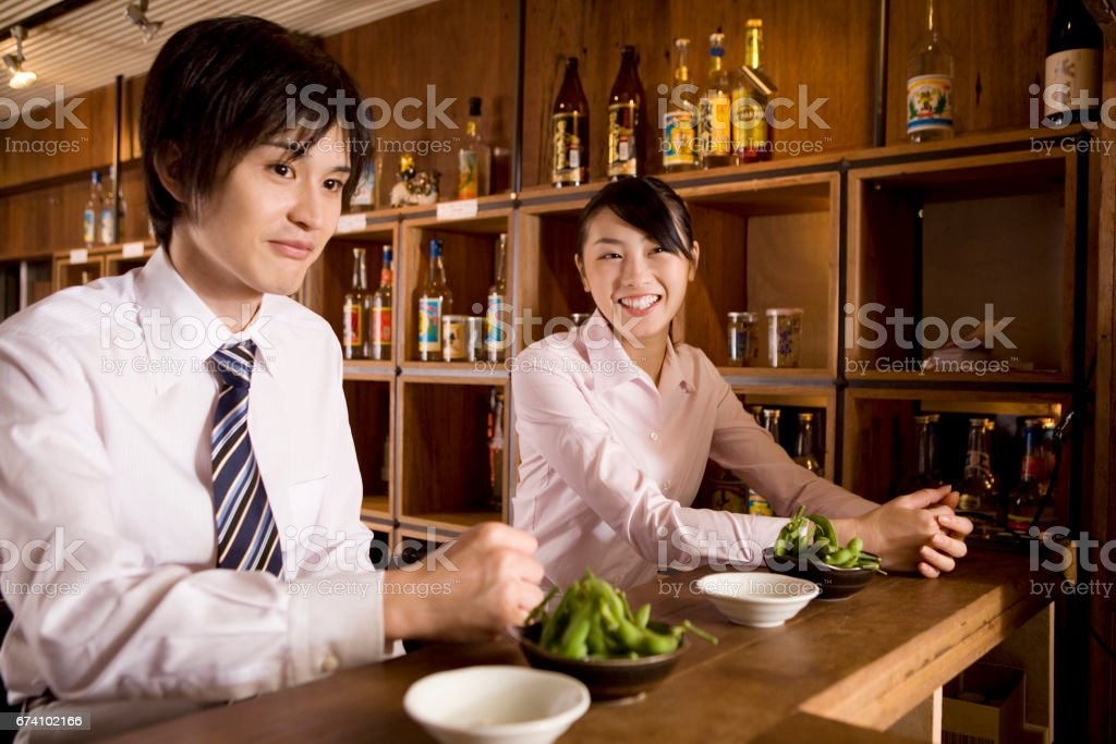 Businessman waiting for drinks in the tavern and business stock photo