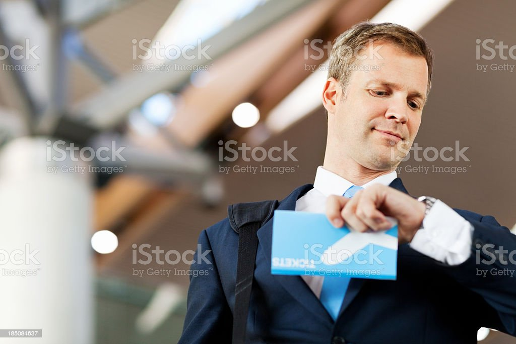 Businessman Waiting For Flight royalty-free stock photo