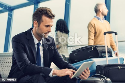 istock Businessman waiting for flight 501796963