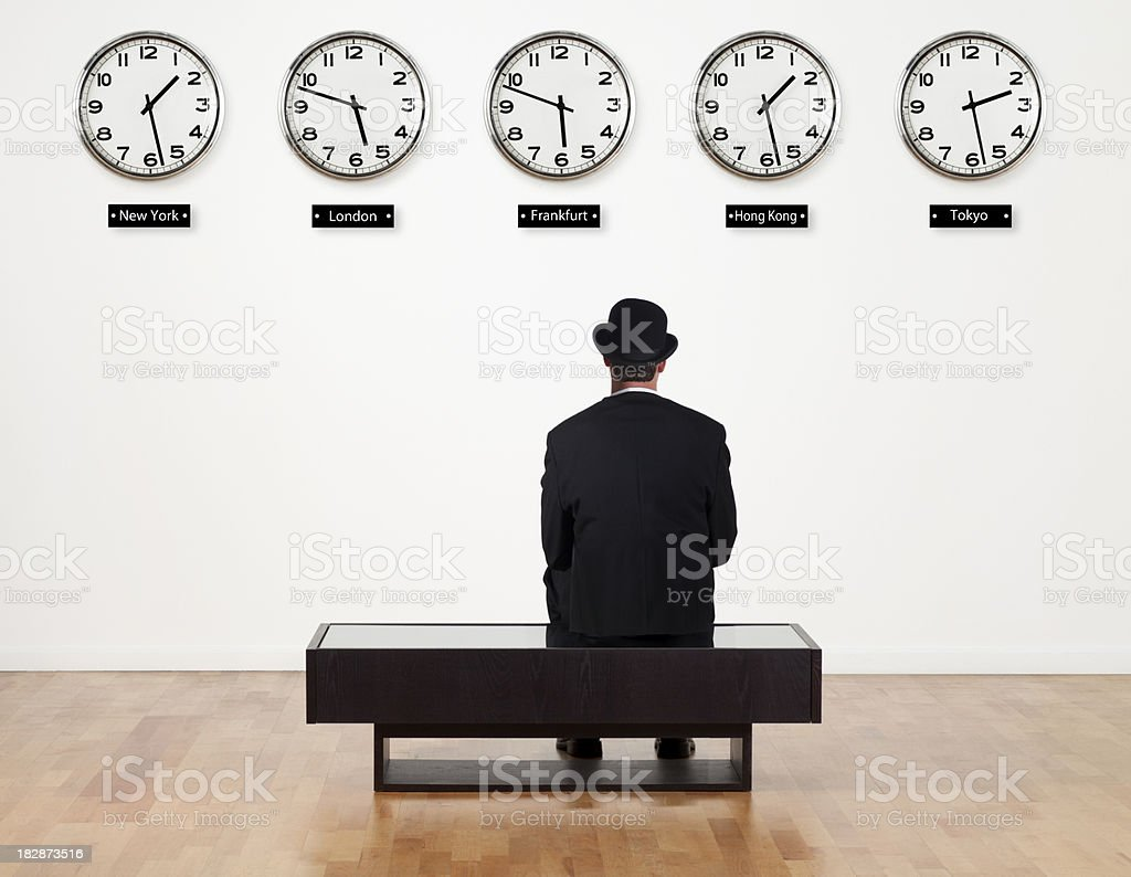 Businessman waiting for something stock photo