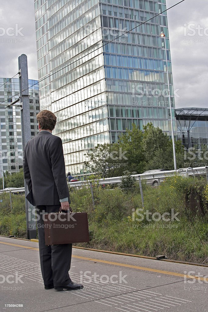 Businessman waiting for the Subway royalty-free stock photo